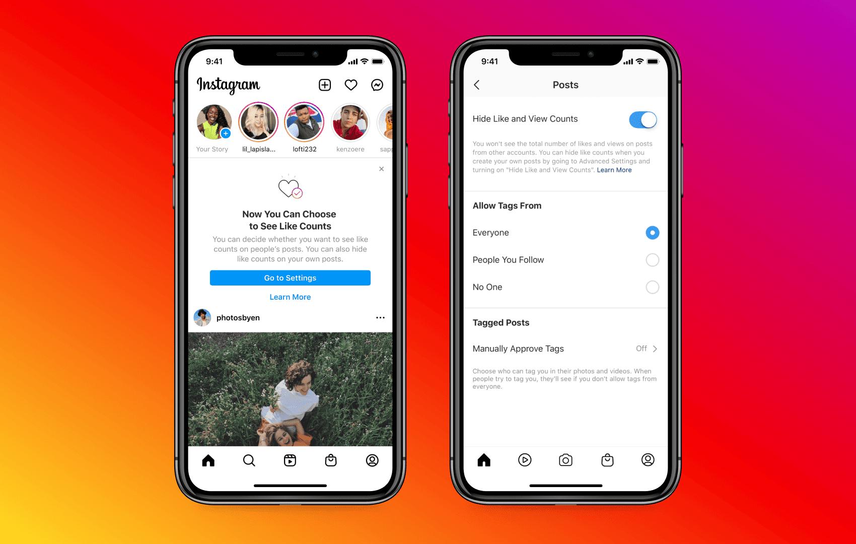 Instagram's new Hide Likes user interface