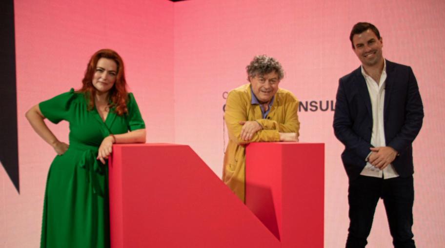 Three panelists at the podium, from Nudgestock 2021