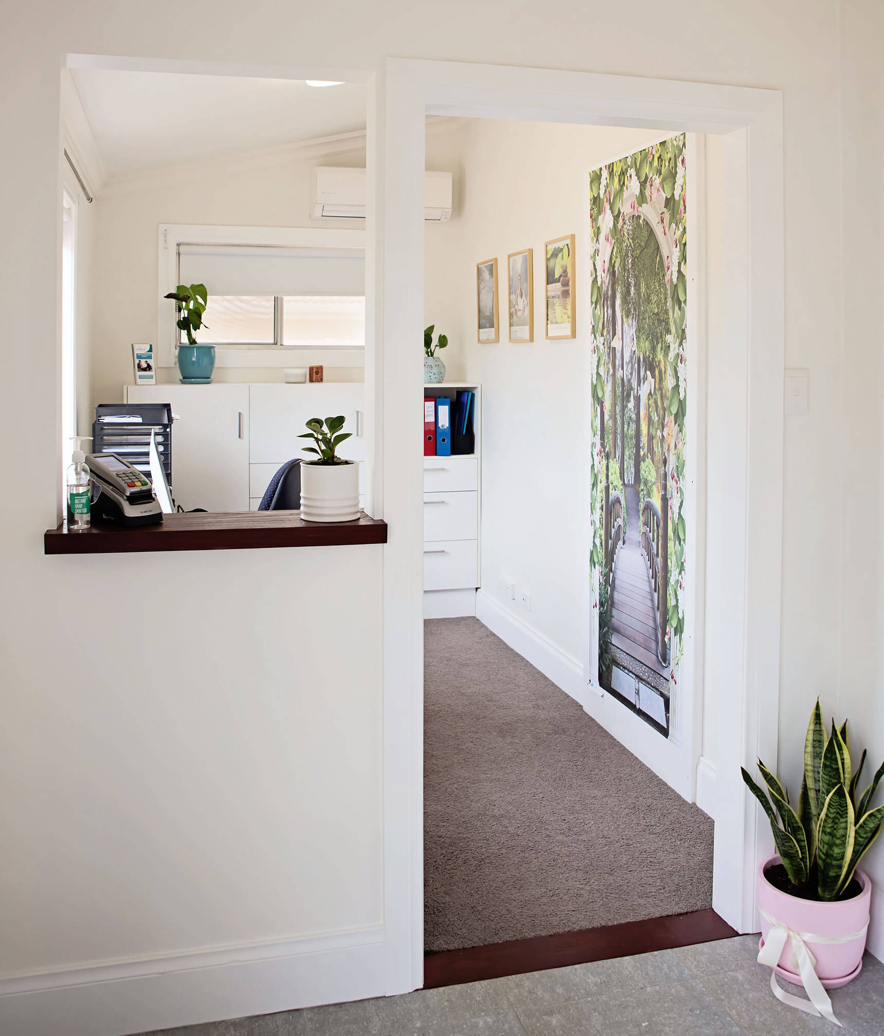 The reception at Sevens Creek Psychology in Euroa, showing artwork on the wall and a pot plant