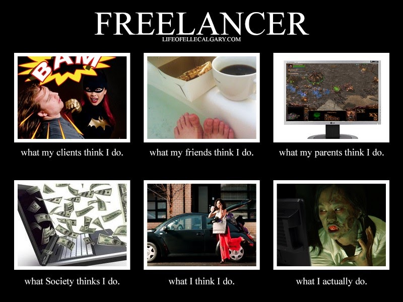 What my friends think I do vs what I actually do as a freelancer