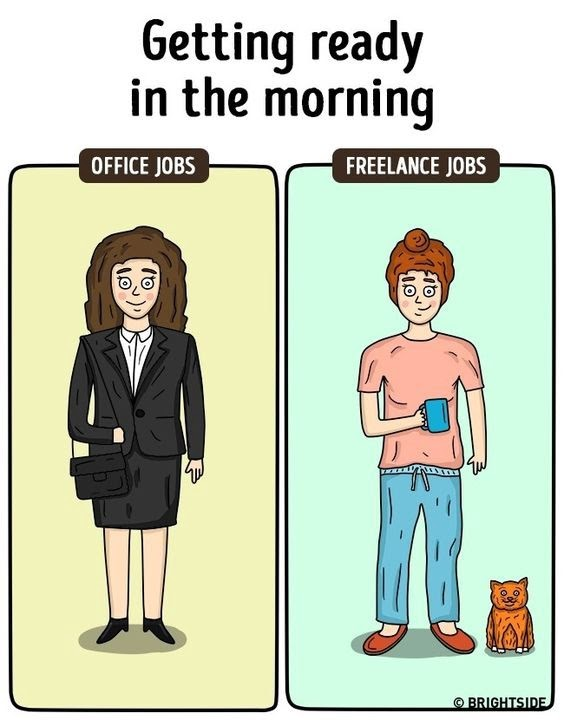 Getting ready in the morning, office jobs vs freelance jobs