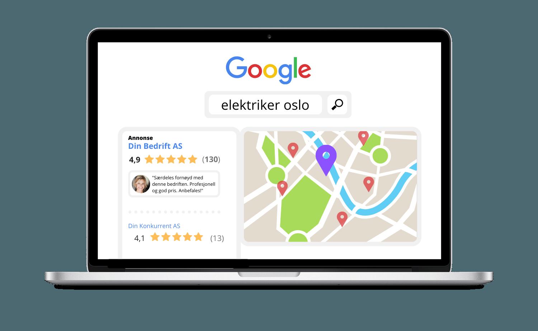 Laptop som illustrerer hvordan annonsering i Google Maps kan se ut og skape effekt for din bedrift som del av din digitale markedsføring
