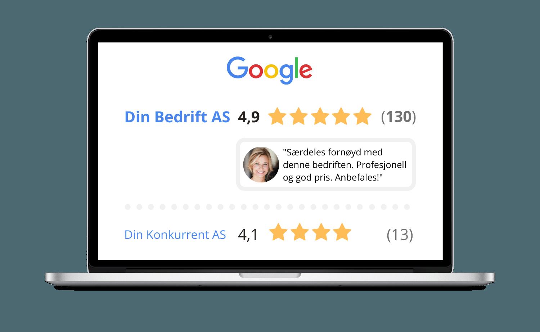Laptop som illustrerer hvordan kundeanmeldelser kan se ut og skape effekt for din bedrift som del av din digitale markedsføring