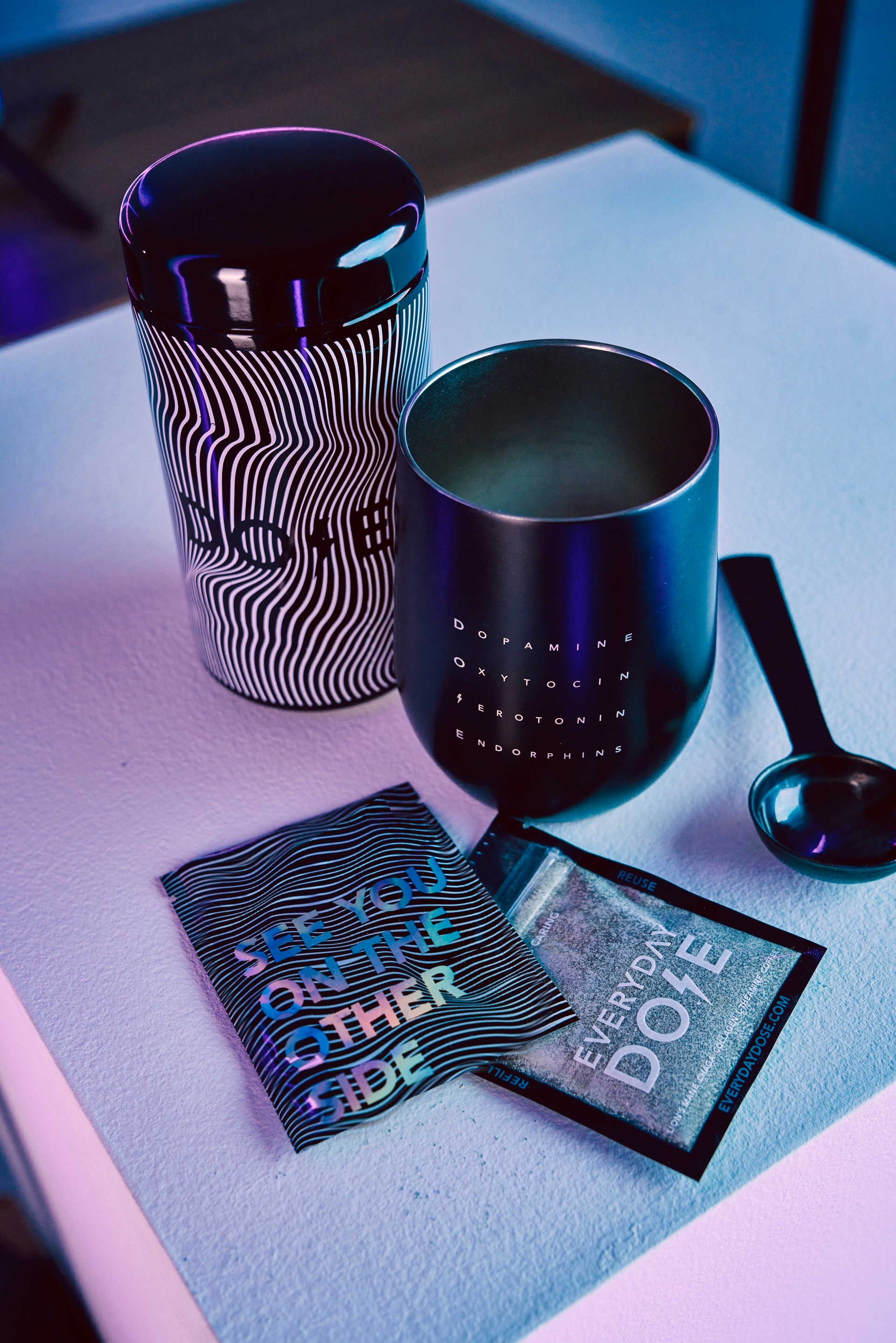 A Mushroom Powder Container with a lot of extra gifts - Coffee Mug - Dose Spoon - Everyday Dose - The Mushroom Latte