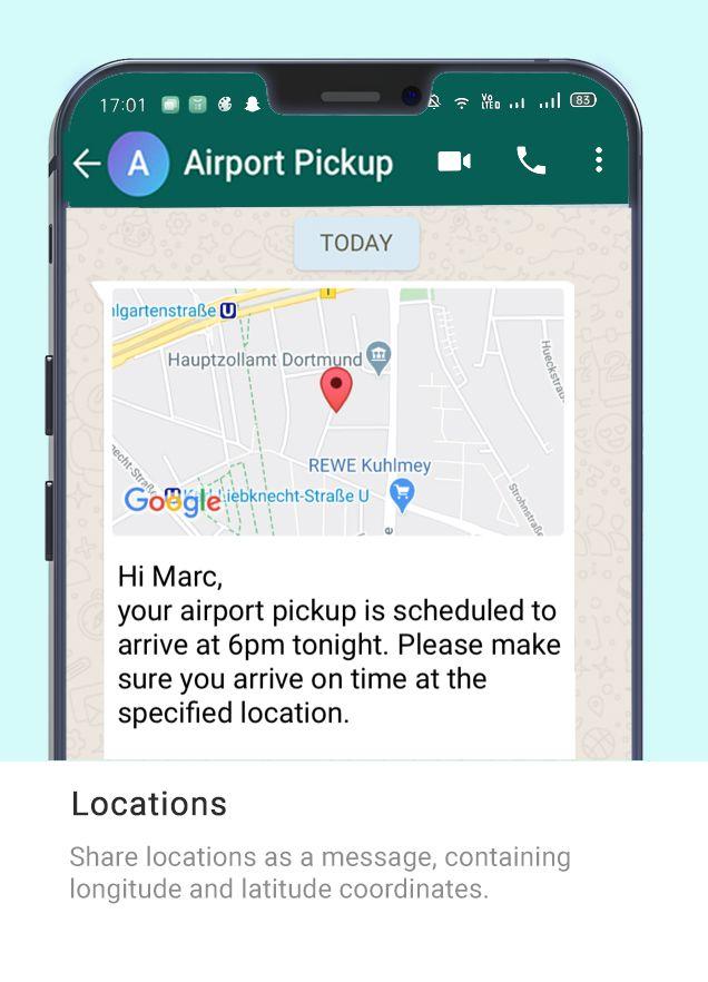Whatsapp Message Type - Airport Pickup