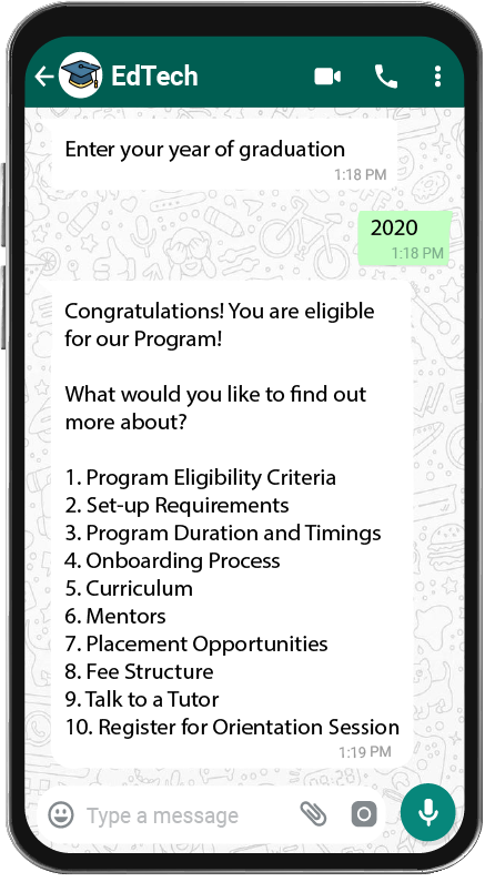 Answer Customer queries on WhatsApp