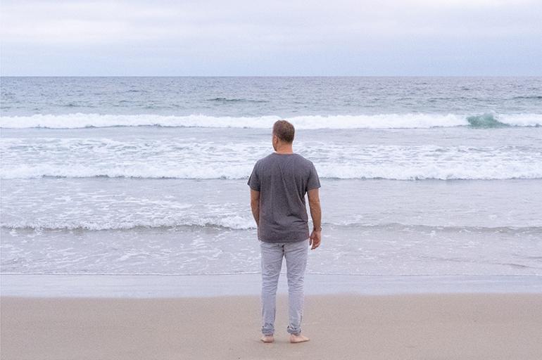Nathaniel Nat Sharratt Looking at Ocean Meditating Contemplating