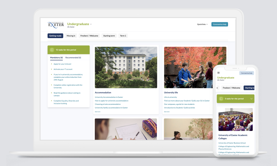 University of Exeter New Students Guide screenshots