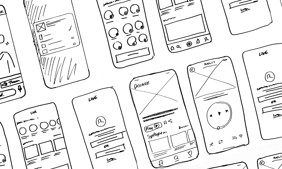 Kiss and Absolute radio app concept sketches