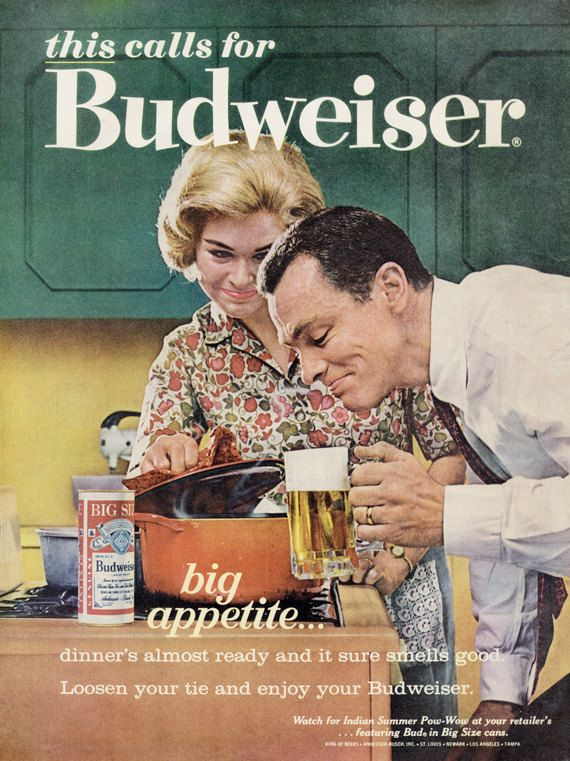 1960s Budweiser Beer Ad Husband Wife Cooking by AdVintageCom | Vintage ads,  Retro ads, Retro advertising