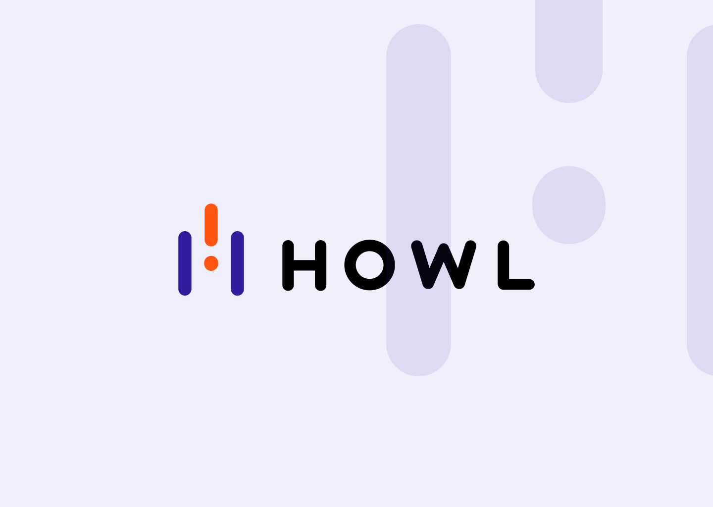 New Howl logo full lockup on a backdrop with the Howl mark watermark.