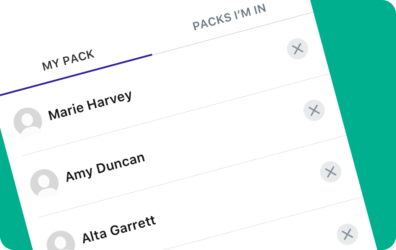 "image of app screen with ""My Pack"" tab open and Pack members listed."
