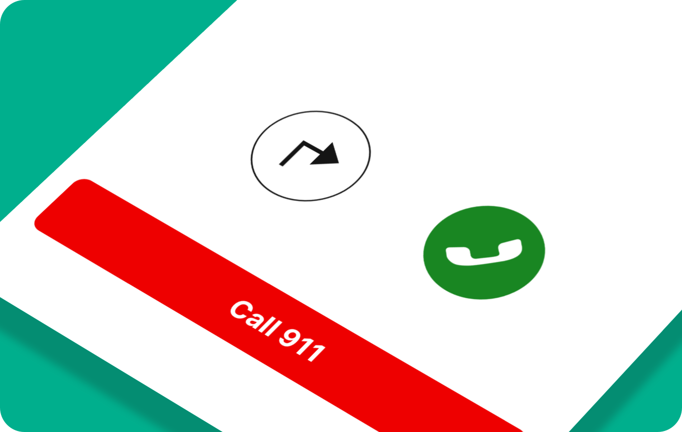 A simplified app screen with a directions button, call button, and call 911 button.