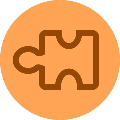 A light orange illustration of a puzzle piece.