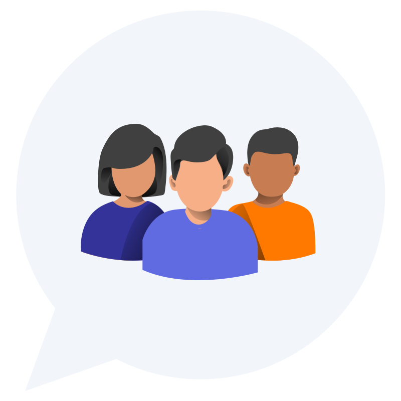 Illustration showing a group or community of neighbors inside a chat bubble.