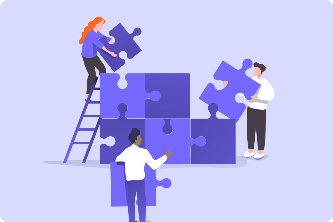 Illustration depicting 3 people working to assemble a puzzle positioned vertically.