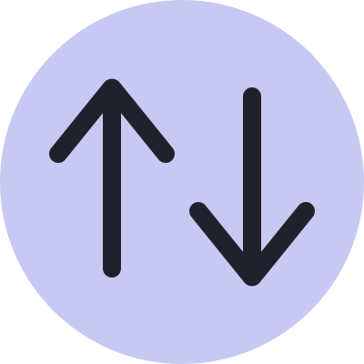 Two arrows: one pointing up and one pointing down to signify upvoting and downvoting.