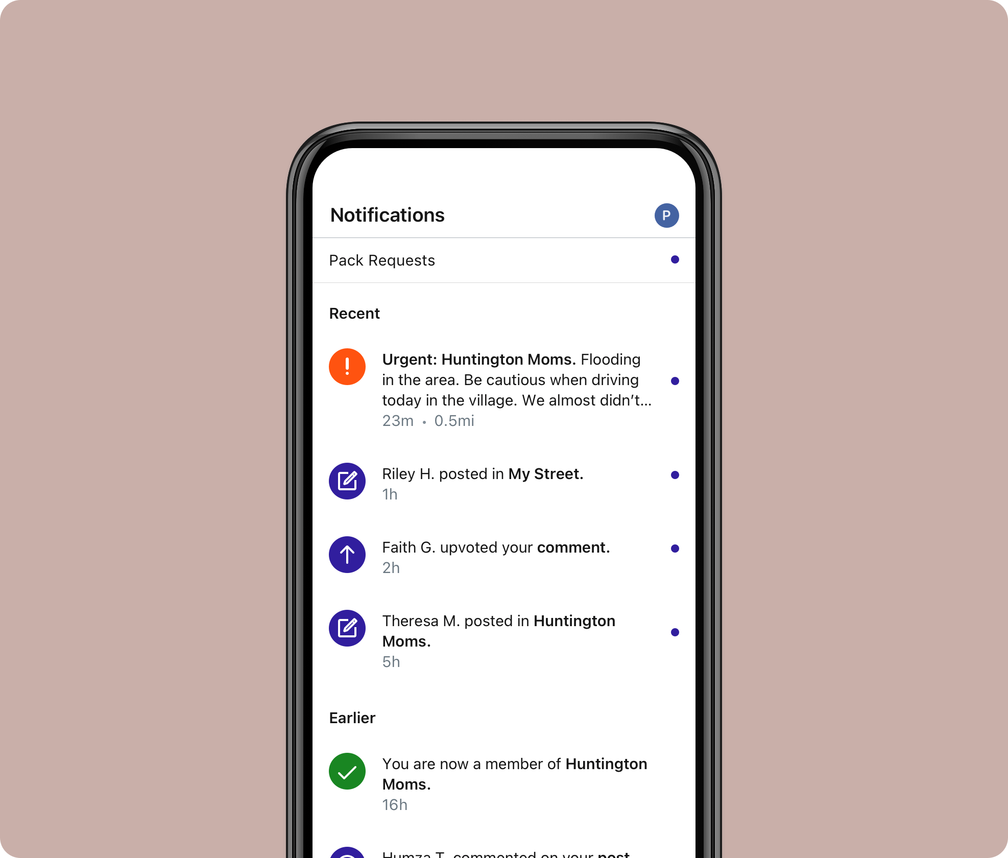 A screen mockup depicting the notifications screen in the Howl app.