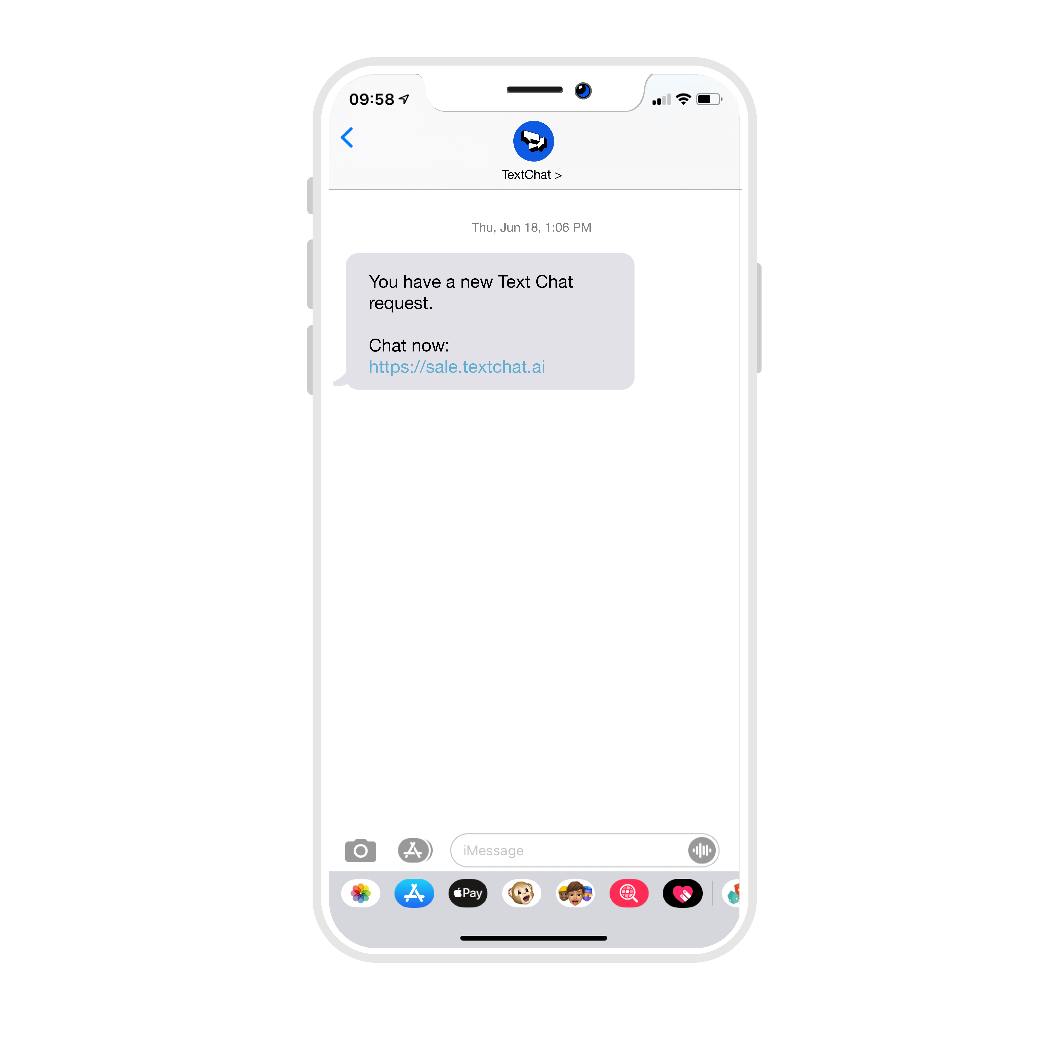 TextChat notification in an iPhone text messaging app