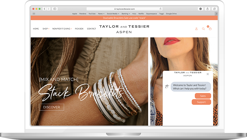 Example of TextChat sales and support chat window buttons on an ecommerce website