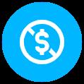 strikethrough dollar icon blue