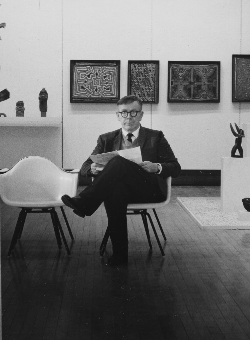 George Rickey in the Newcomb College Art Gallery, Tulane University, New Orleans, LA, c. 1956