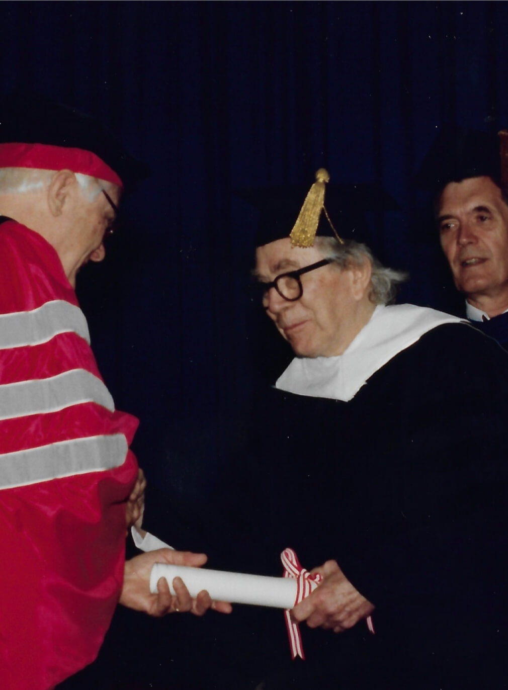 George Rickey receives an honorary doctorate from Rensselaer Polytechnic Institute (RPI), Troy, NY, May1990