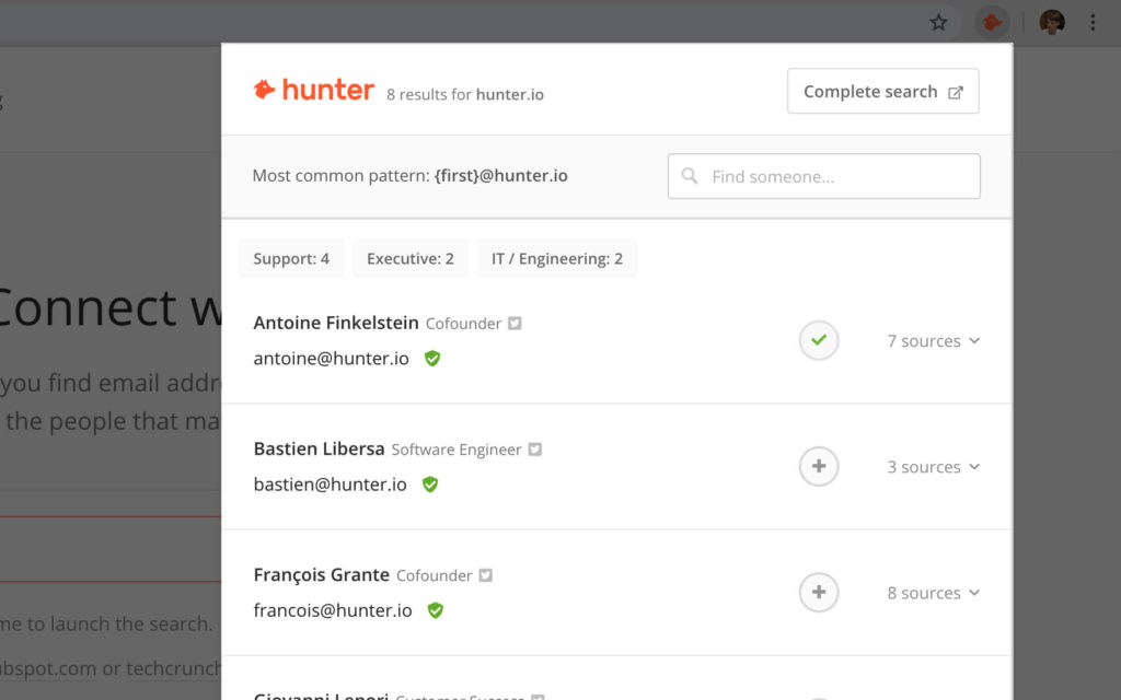 Hunter is a Chrome extension that allows you to find easily find email addresses on websites