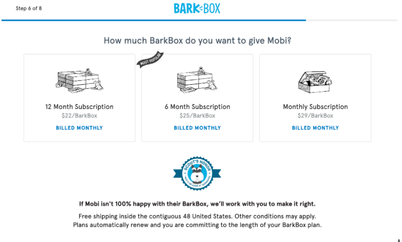 An image of how BarkBox's loyalty program incentivizes customers to sign up for long periods of time.