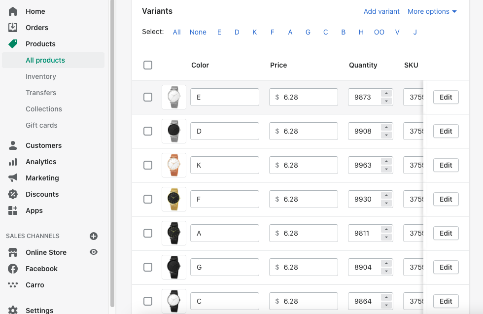 Setting up product variants? The limits are much smaller for Shopify