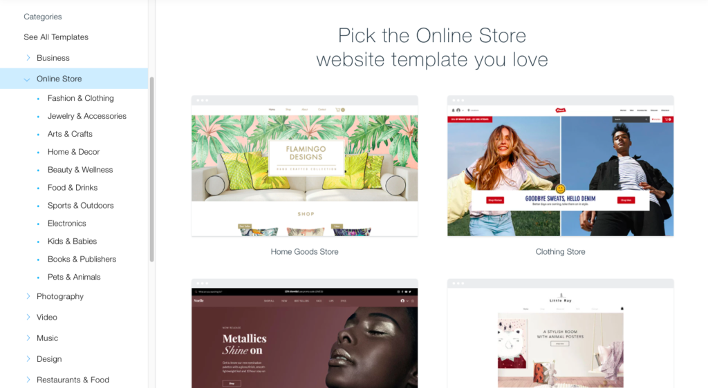 Wix has over 100 free Wix themes for e-commerce