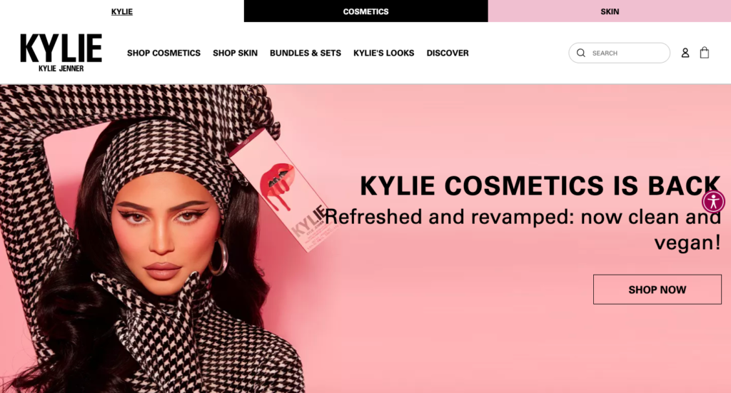 Kylie Cosmetics is one of the biggest cosmetics brands, and one of the most visited Shopify stores. This site made the founder a billionaire!