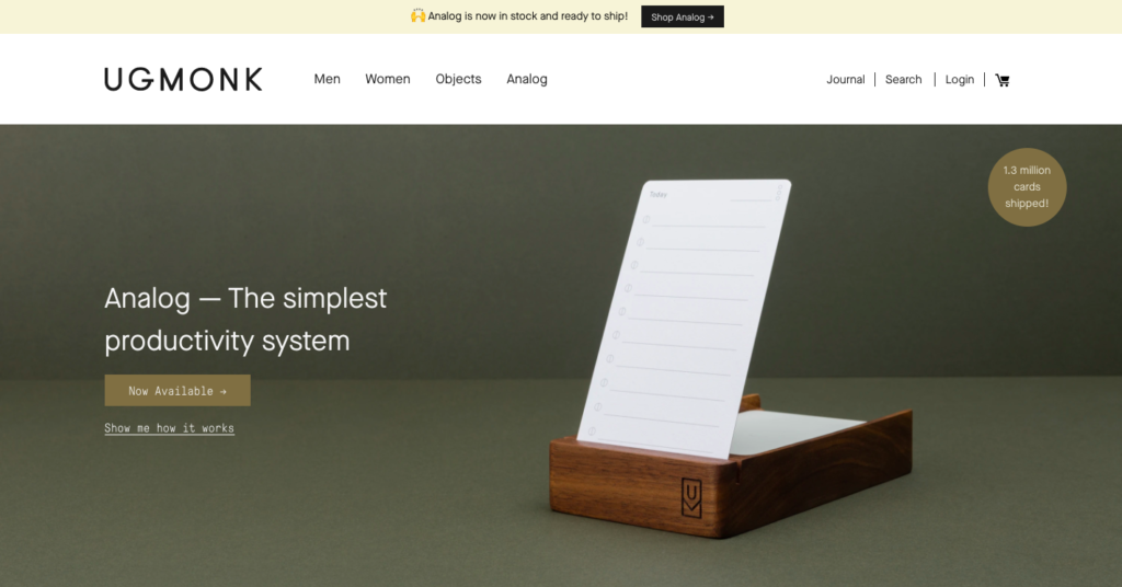 UgMonk is a fresh design studio that creates items for minimalist creative types. It's simple, smooth, and has great products!