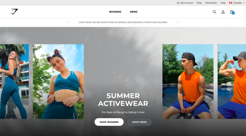 GymShark is #1 on our list of the best Shopify stores due to the detail and thought that went into the process. This brand has a cult-like following!