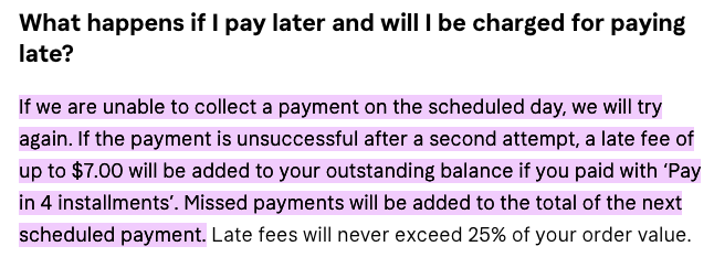 Afterpay and Klarna have very similar fee structures