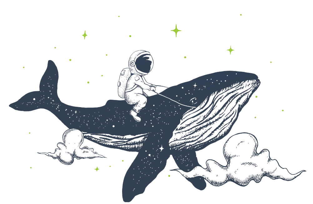 Astronaut riding a whale