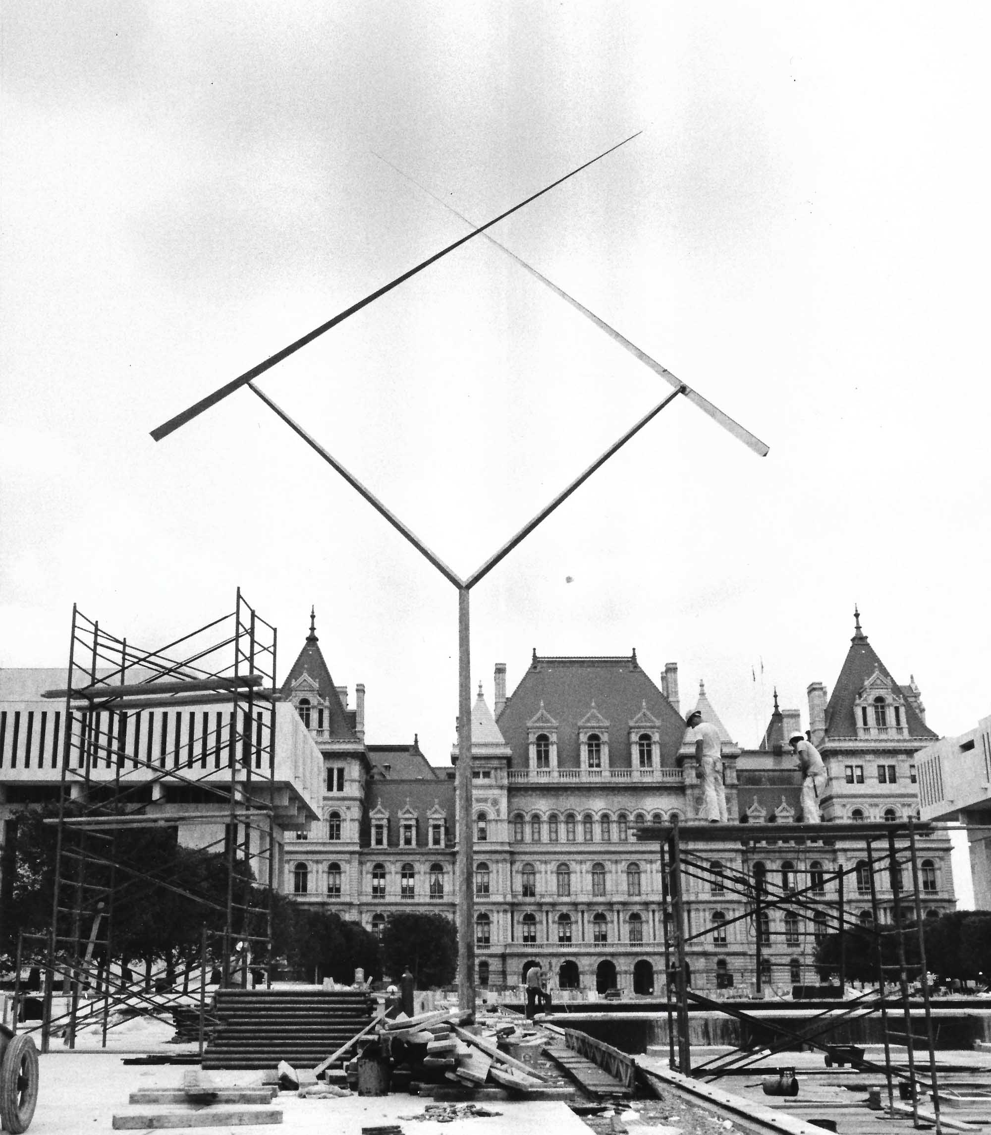 Two Lines Oblique (1971, stainless steel), Empire State Plaza, Albany, NY. Estate of George Rickey/George Rickey Foundation.
