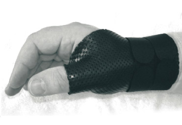 Right hand with black splint