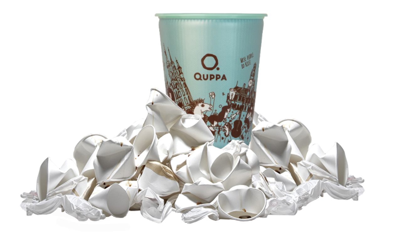 A Quppa cup on top of disposable cups