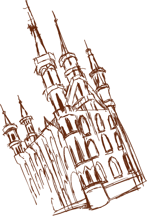 Drawing of the city hall of Leuven
