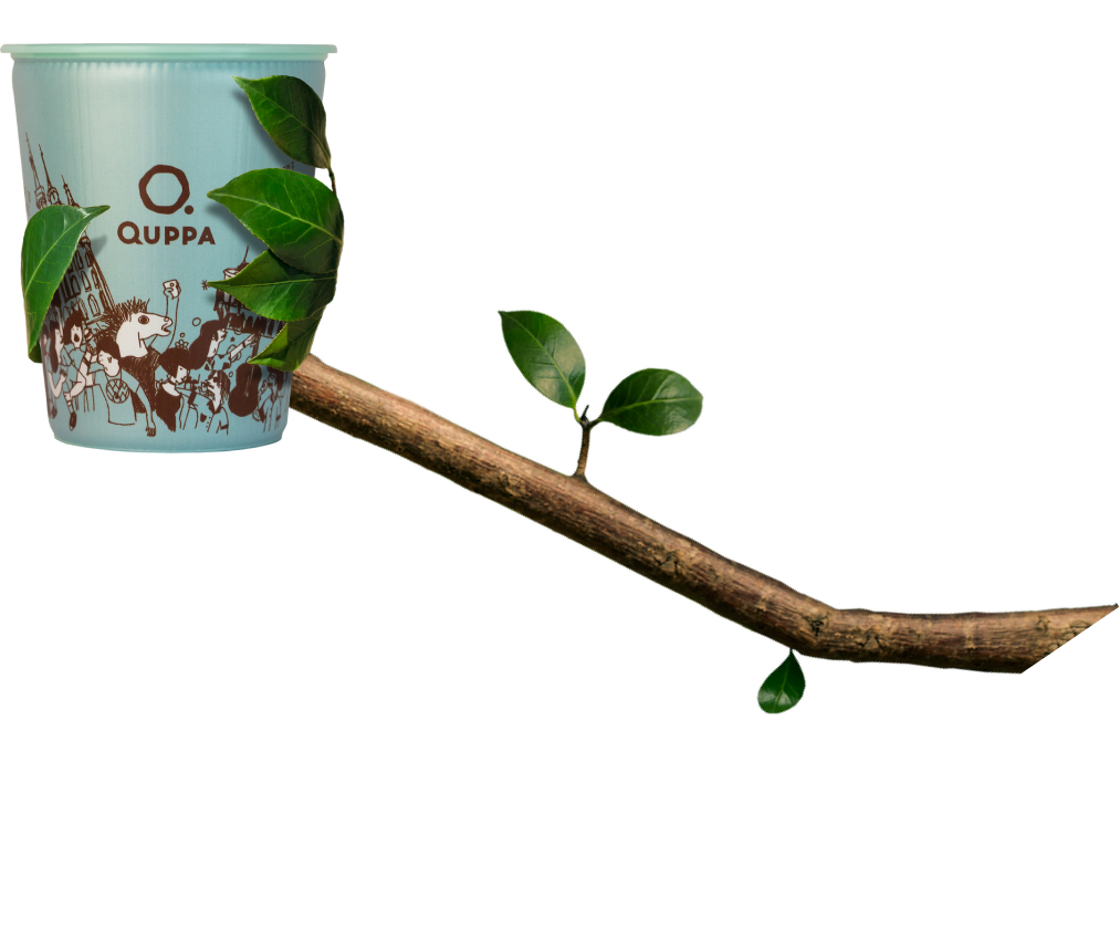 A Quppa cup which is held by a branch