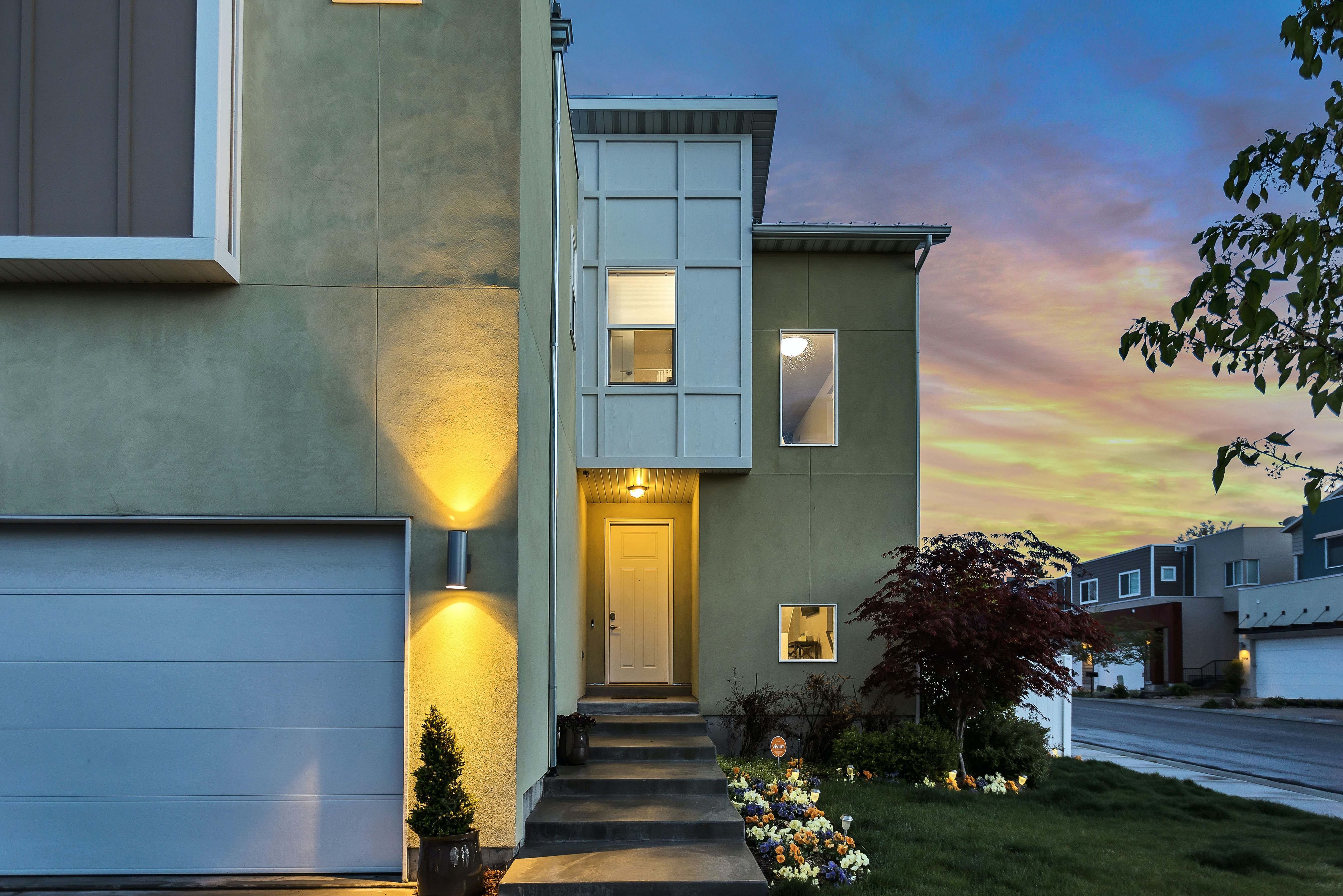 Townhouses at sunset