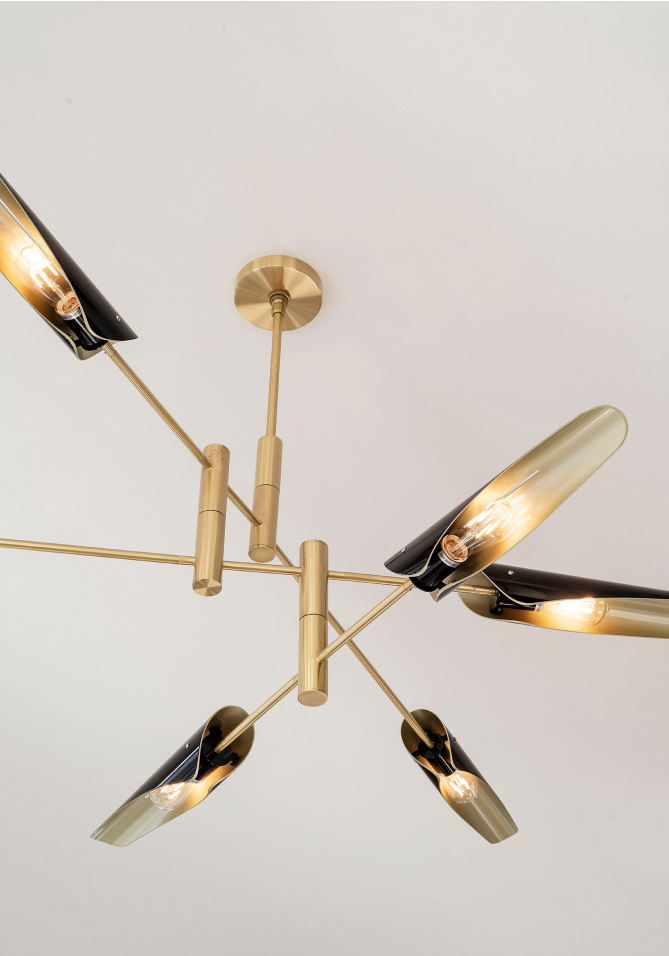 A modern brass light fixture