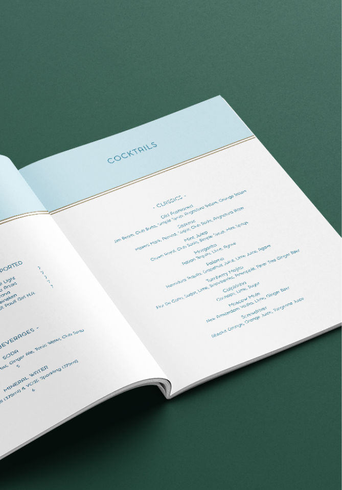The Soff's cocktail menu with spacious layout and sans serif type