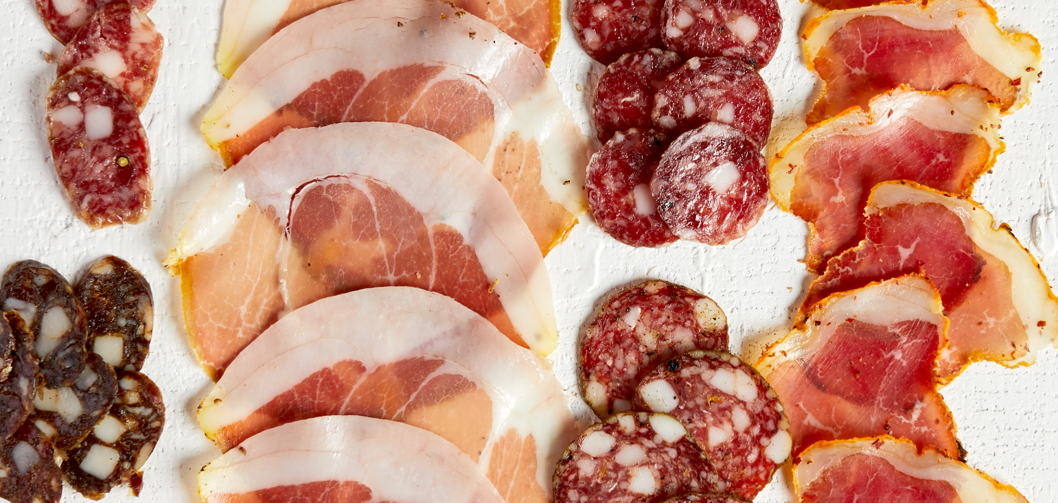 An arrangement of cured meat slices from Salty Pork Bits.