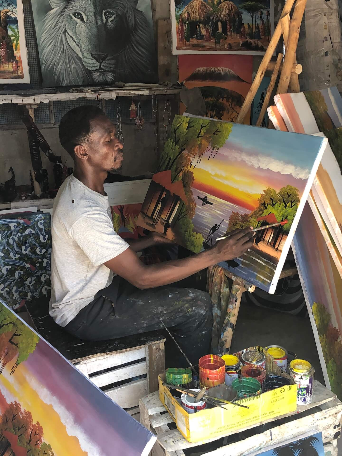 A local painter in his Zanzibar workshop