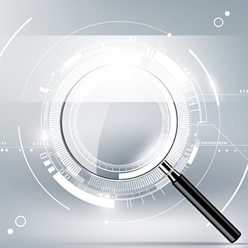 Abstract of magnifying glass on grey background
