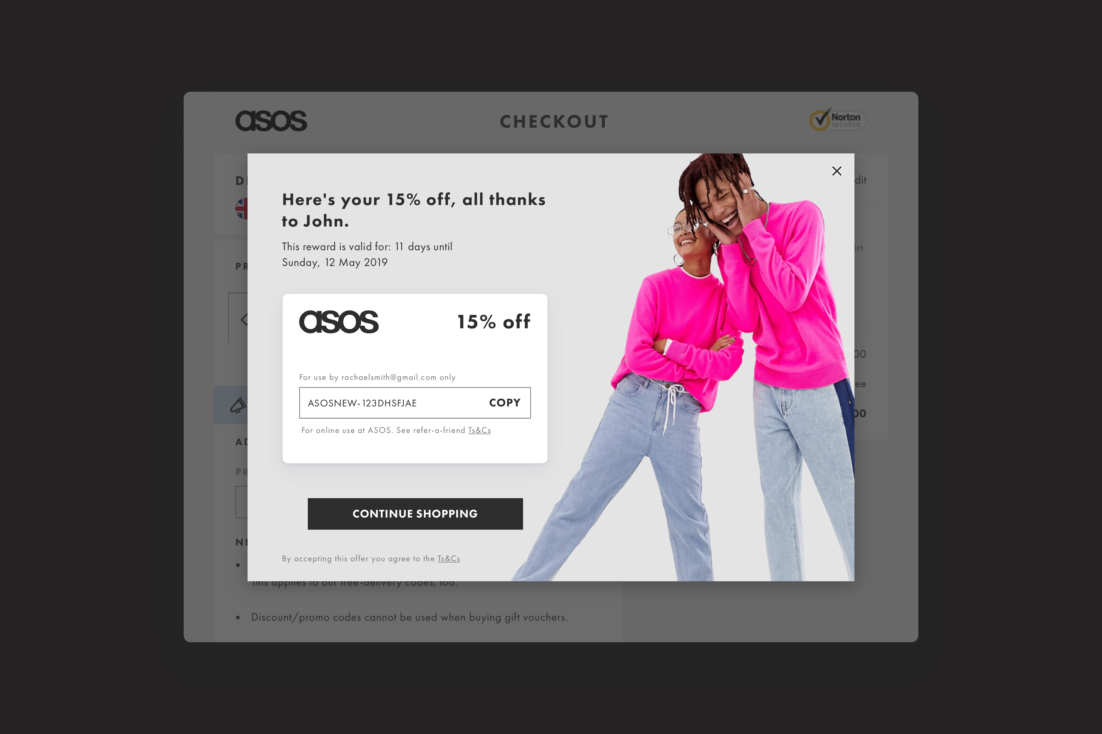 Referral code pop-up within checkout