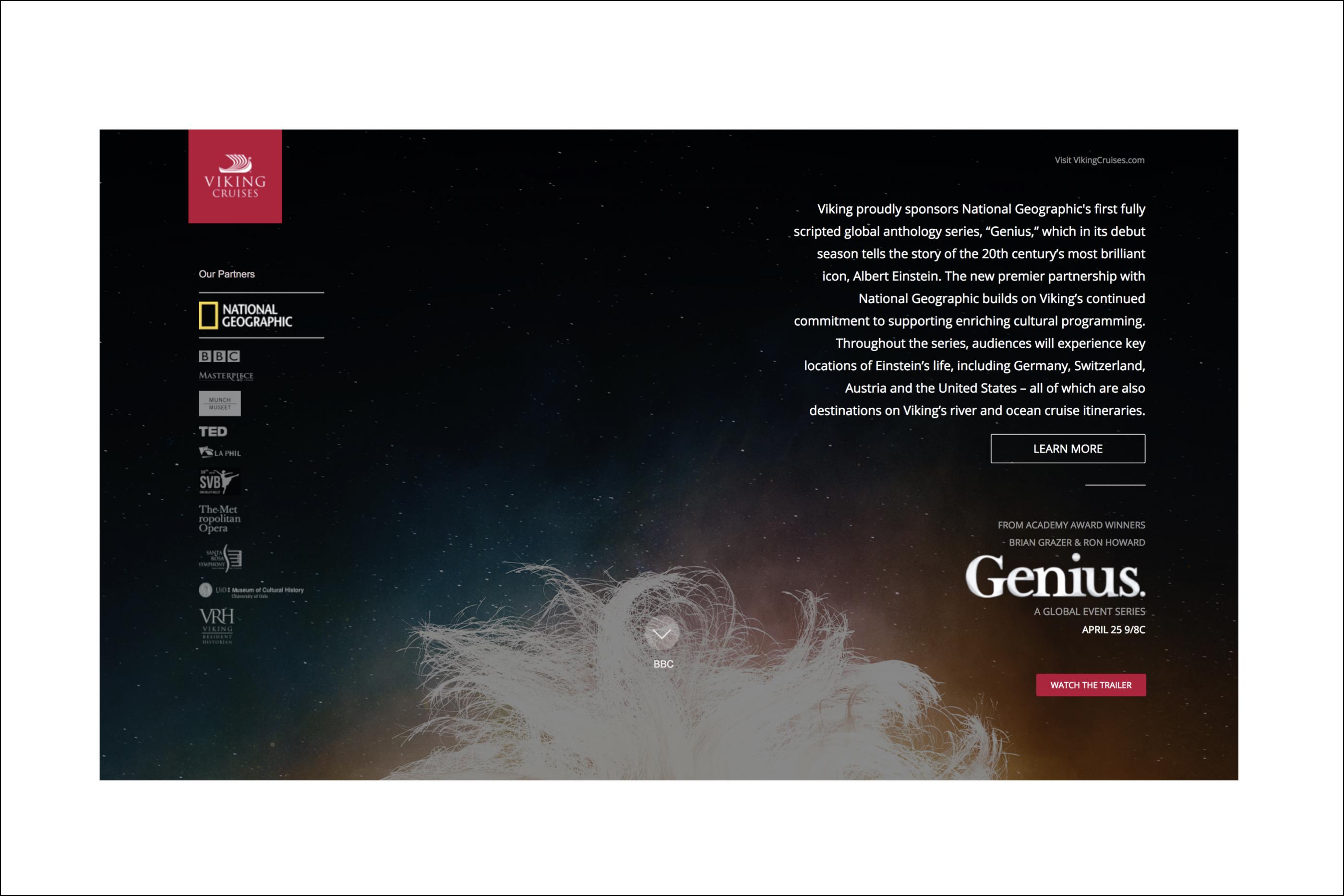 landing page of website