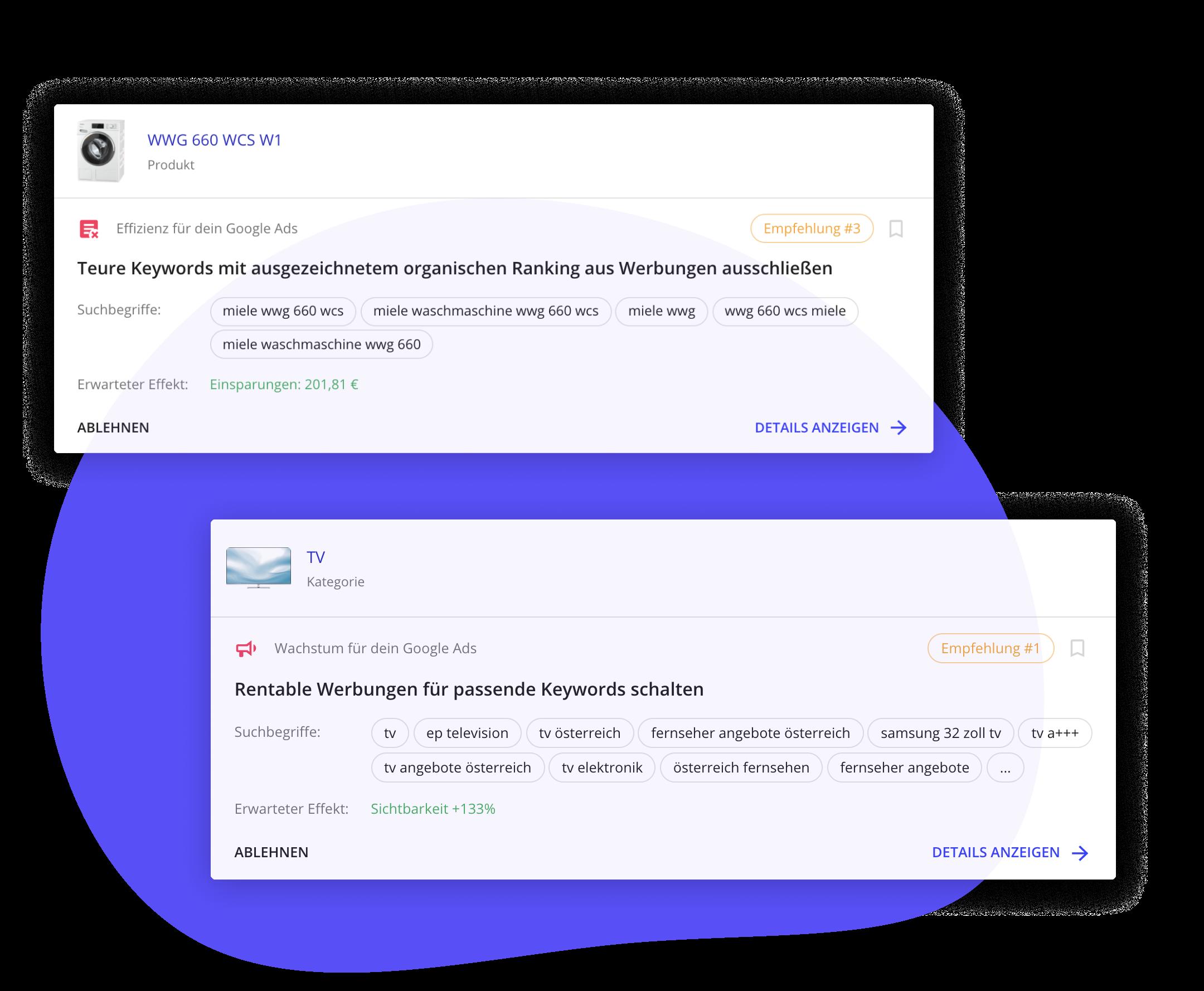 """Ein Screenshot aus der boomerank App, der Empfehlungen für Werbung-Schalten und """"SEA-Effizienz"""" zeigt."""